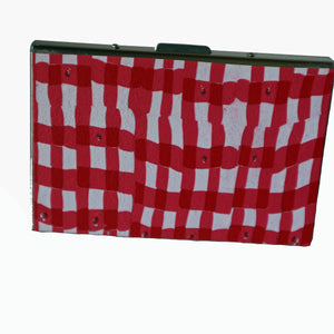 Wallet-Metal Wallet- Red & White Checker