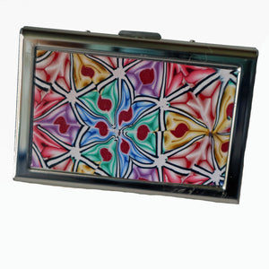 Wallet-Metal Wallet- Rainbow Stylized Flowers