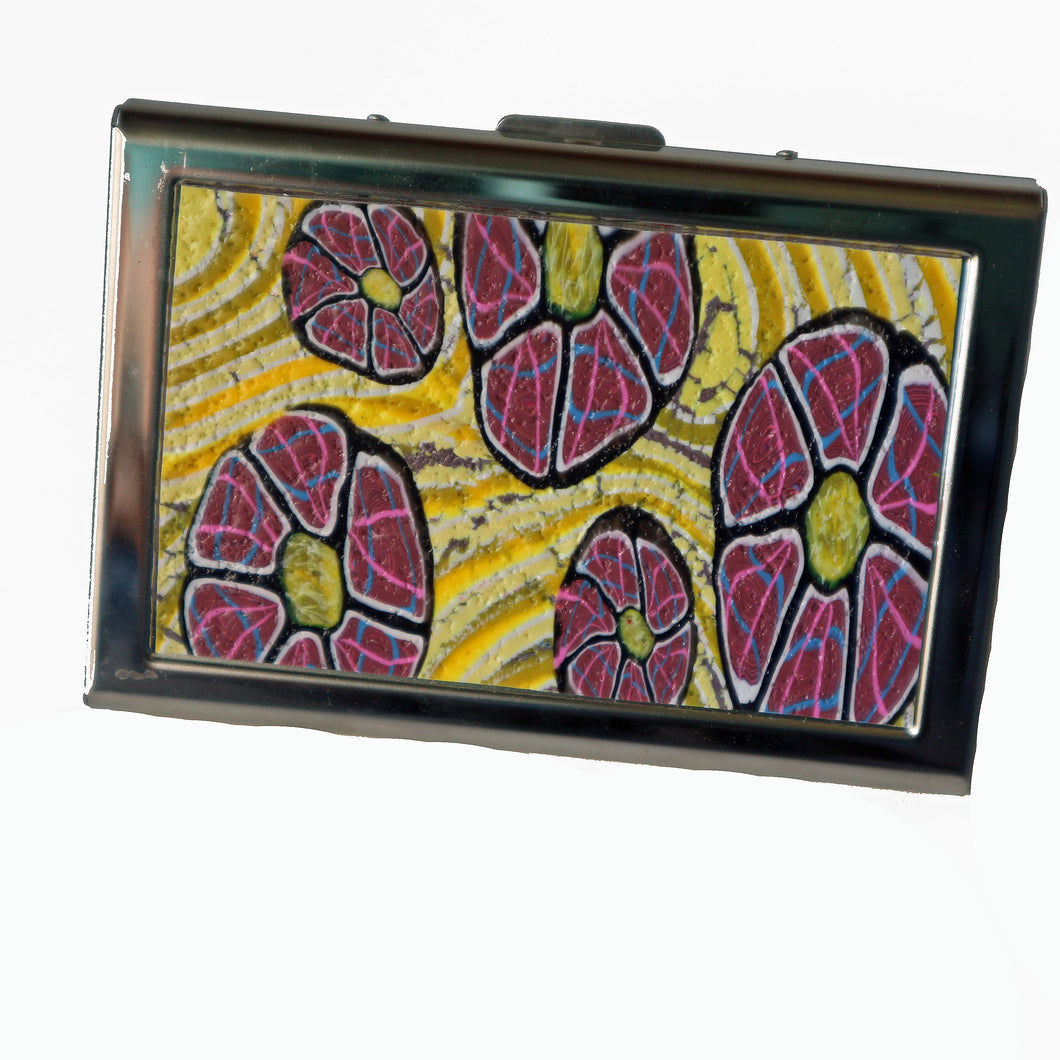 Wallet-Metal Wallet- Yellow with Pink Flowers