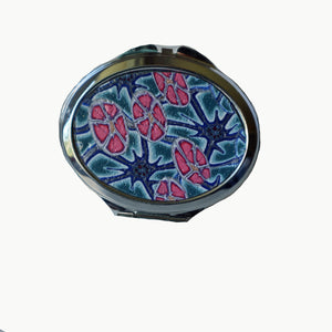 Oval Pocket MIrror- Blue Flowers with Pink Flowers