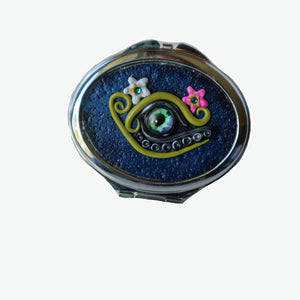 Oval Pocket MIrror- Blue with Dragon Eye and Crystals