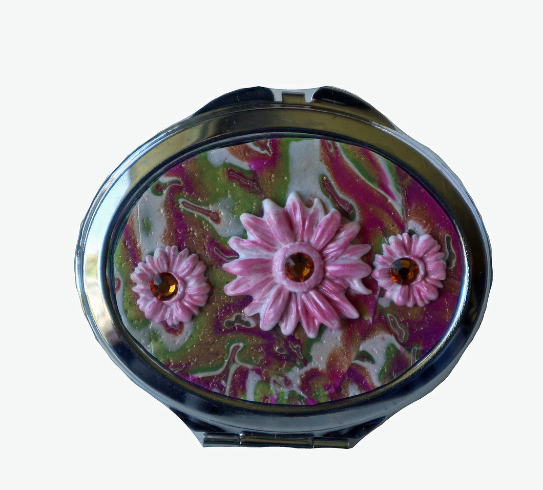 Oval Pocket MIrror- Pink & Green with Pink Daisies with Crystals