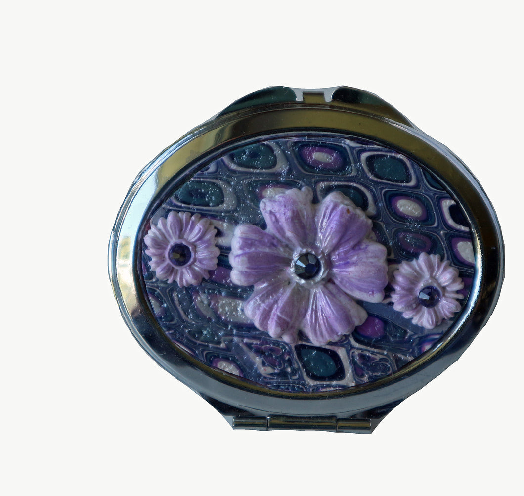 Oval Pocket MIrror- Purple Retro with Purple Daisies with Crystals