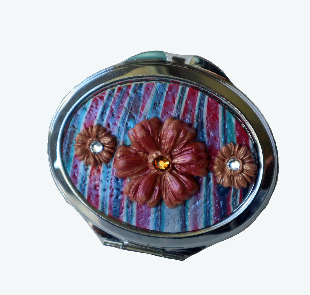 Oval Pocket MIrror- Pink & Blue Stripes with Red Daisies with Crystals