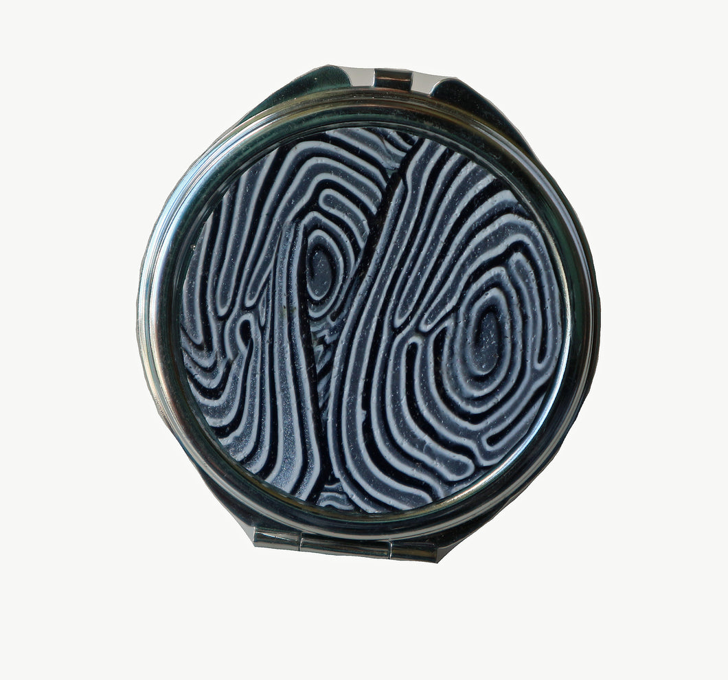 Round Pocket MIrror- Blue, White & Silver Swirls