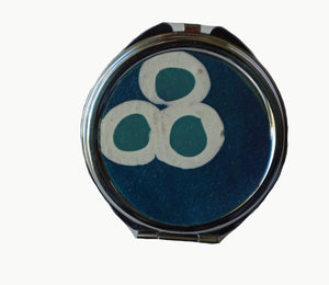 Round Pocket MIrror- Blue with White & Blue Circles