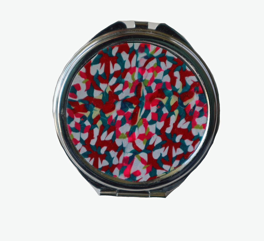 Round Pocket MIrror- Multi Colored Dots