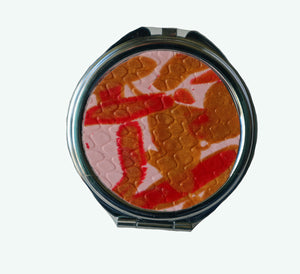 Round Pocket MIrror- Pink, Red & Gold Swirls