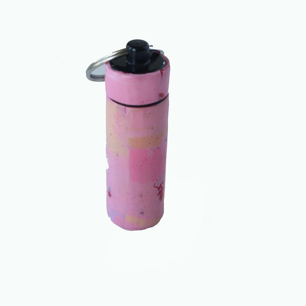 Key Chain Pill Bottle- Pink Smudges
