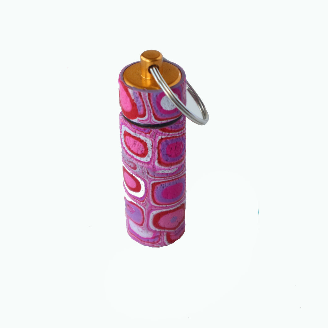 Key Chain Pill Bottle- Pink Retro