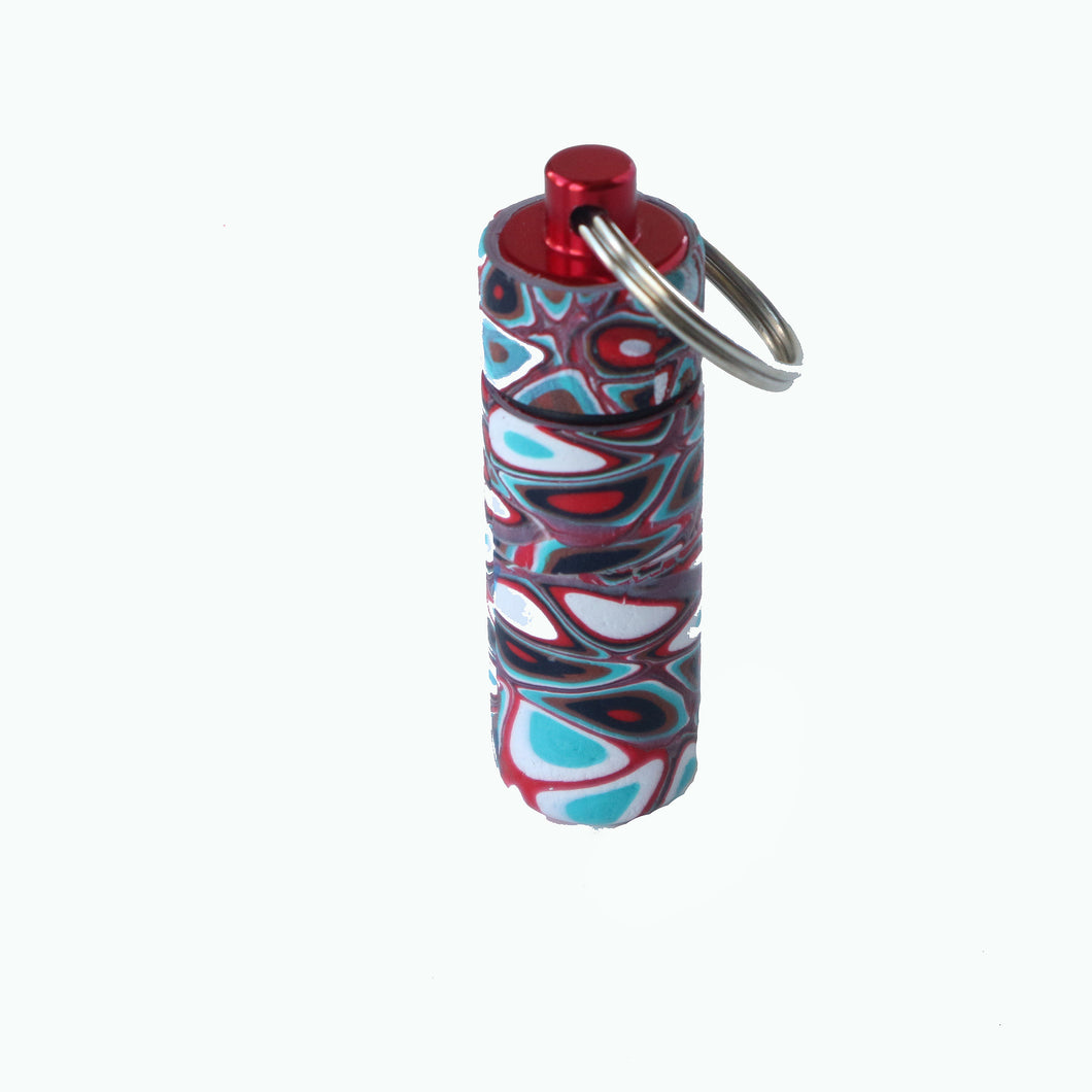 Key Chain Pill Bottle- Red, Turquoise & White Dots