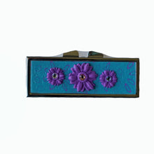 Load image into Gallery viewer, Pill Box-Rectangular- Purple Flowers with Crystals on Turquoise