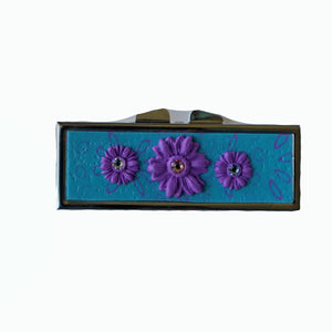 Pill Box-Rectangular- Purple Flowers with Crystals on Turquoise