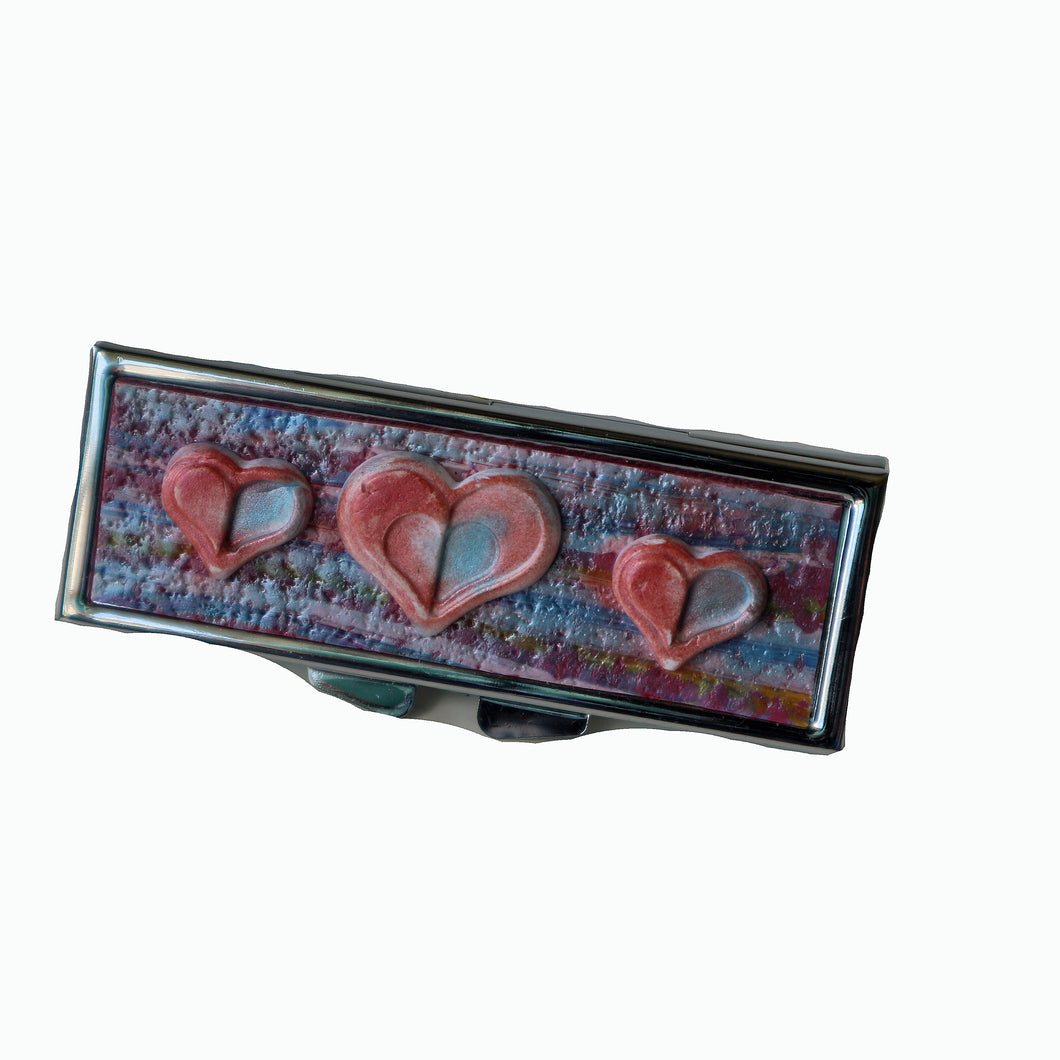 Pill Box-Rectangular- Pink & Blue Stripes with 3 Hearts