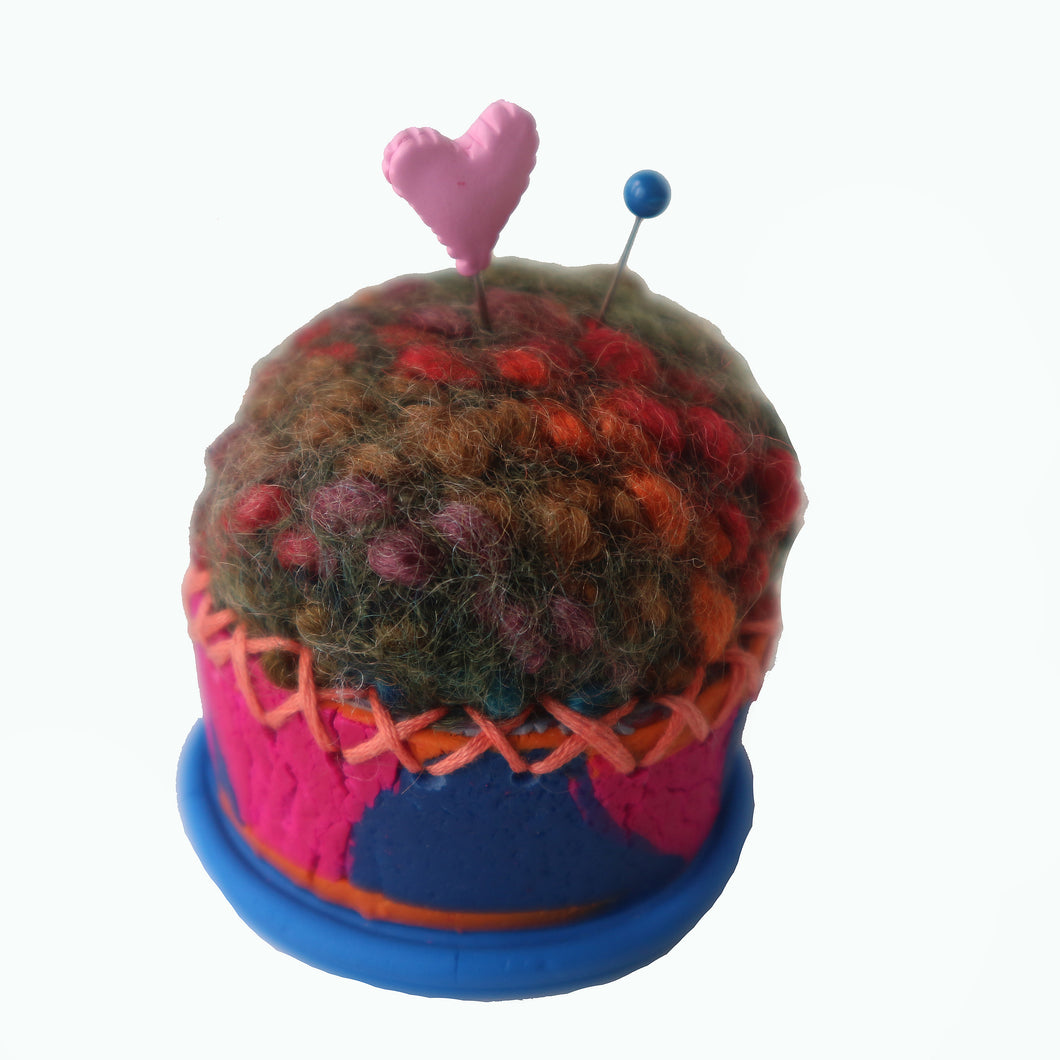 Pin Cushions-Blue Pink & Orange with Multi Colored Wool Top Cupcake