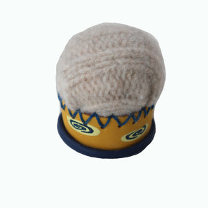 Pin Cushions-Yellow & Blue with Cream Wool Top Cupcake