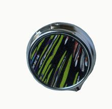 Load image into Gallery viewer, Round Pill Box- Black & Green Stripes