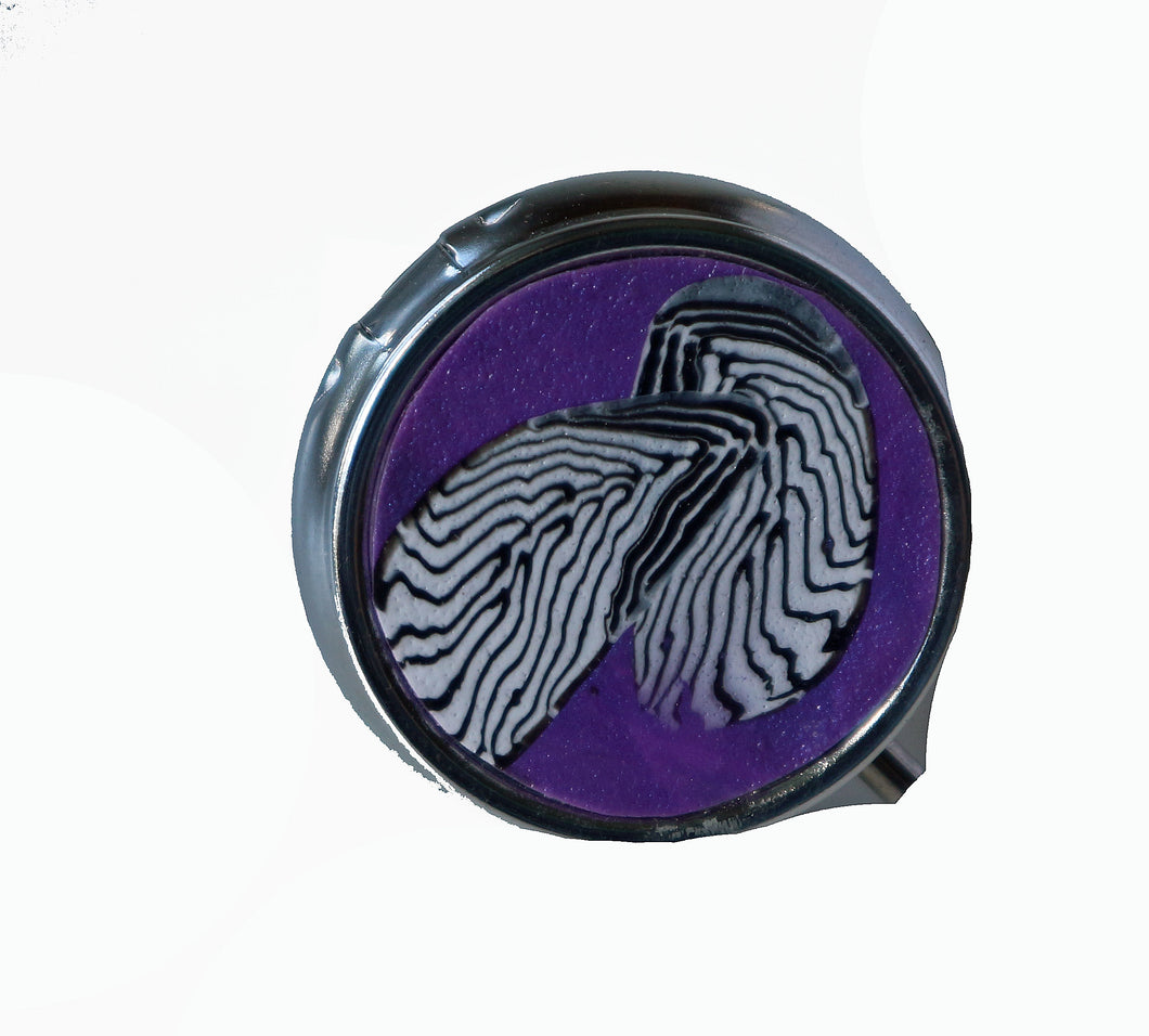 Round Pill Box- Black & White Feathers on Purple
