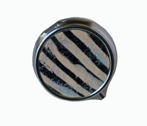 Round Pill Box- Black & White Sprakle Stripes