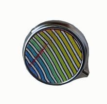Load image into Gallery viewer, Round Pill Box- Blue to Yellow Stripes