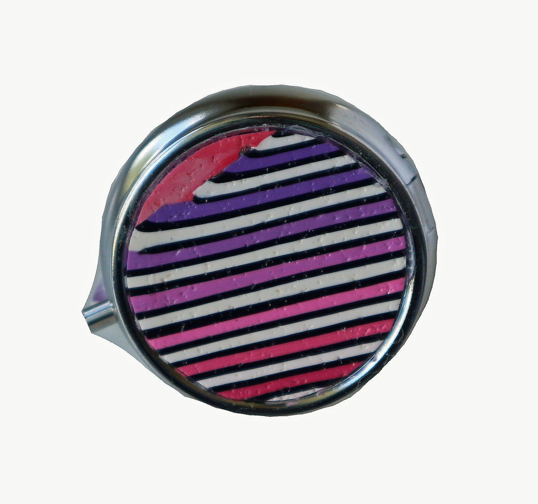 Round Pill Box- Pink to Purple Stripes