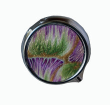Load image into Gallery viewer, Round Pill Box- Purple & Green Petals