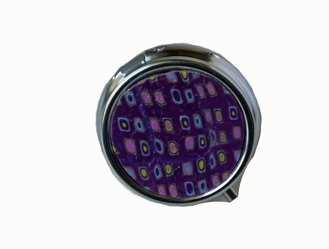 Round Pill Box- Purple Retro
