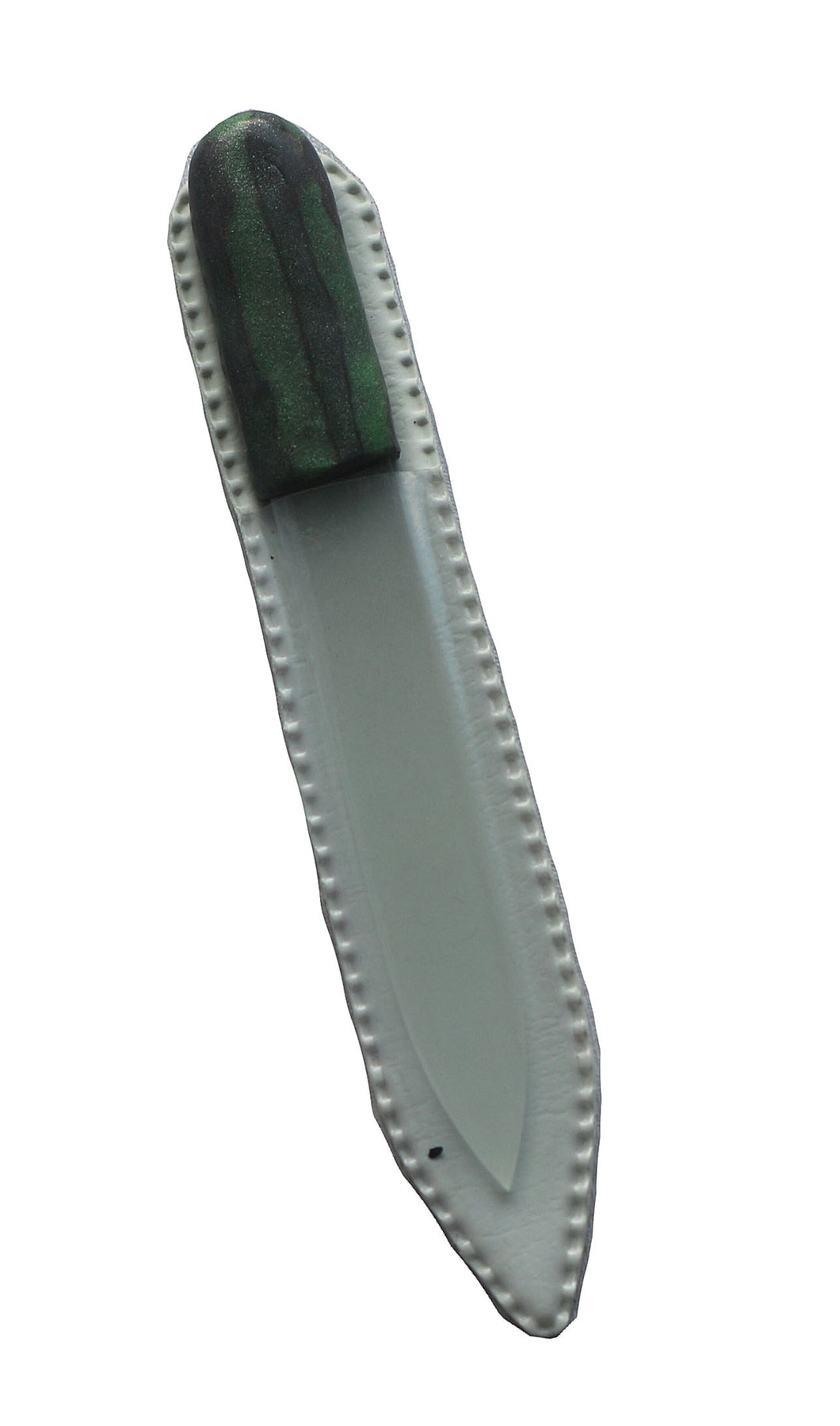 Crystal Nail File-Small-Green Silver Stripes