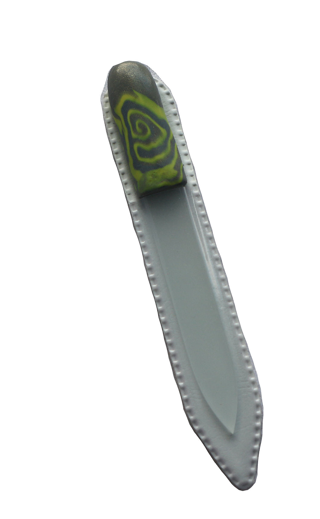 Crystal Nail File-Small- Green & Grey Swirl