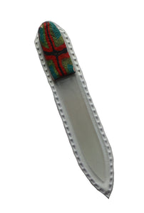 Crystal Nail File-Small-Red Black Cross on Green