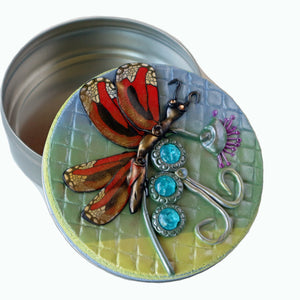 Round Tin Box- Monarch on Flowers