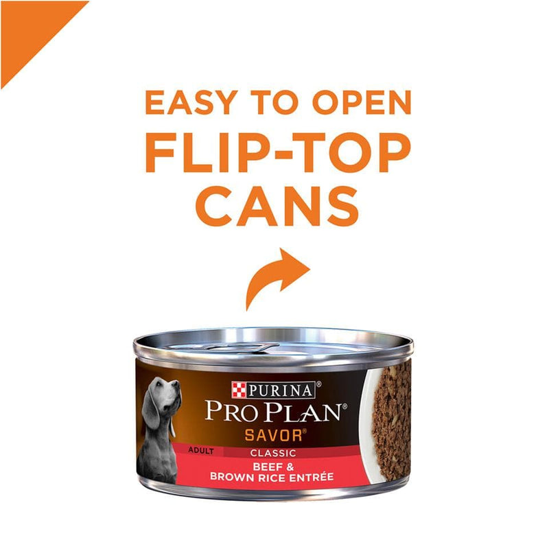 Purina Pro Plan Savor Adult Beef & Brown Rice Canned Dog Food