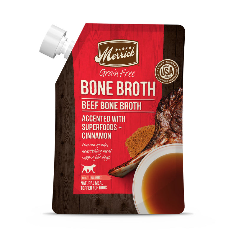 Merrick Grain Free Beef Bone Broth Wet Dog Food Topper