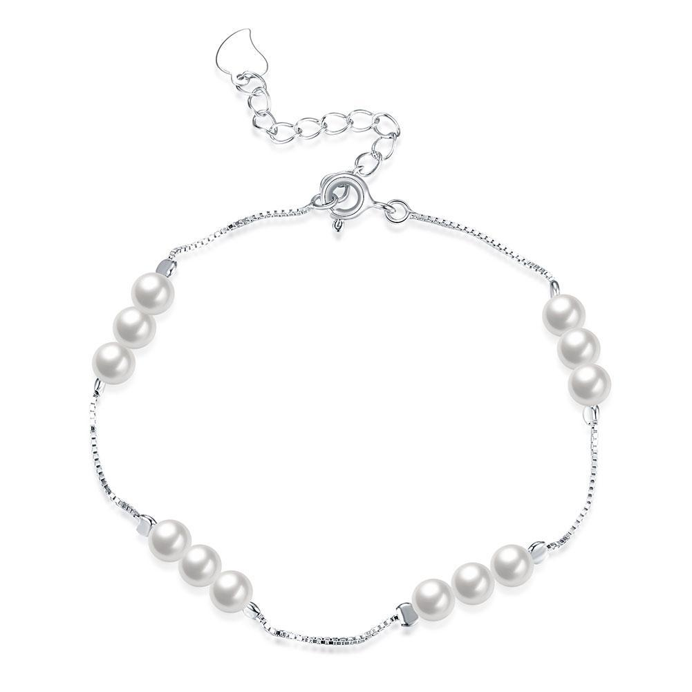 Sterling Silver Simulated Twelve Pearls Modern Bracelet