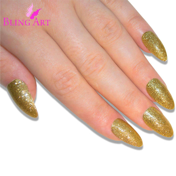 False Nails Bling Art Gold Gel Almond Stiletto