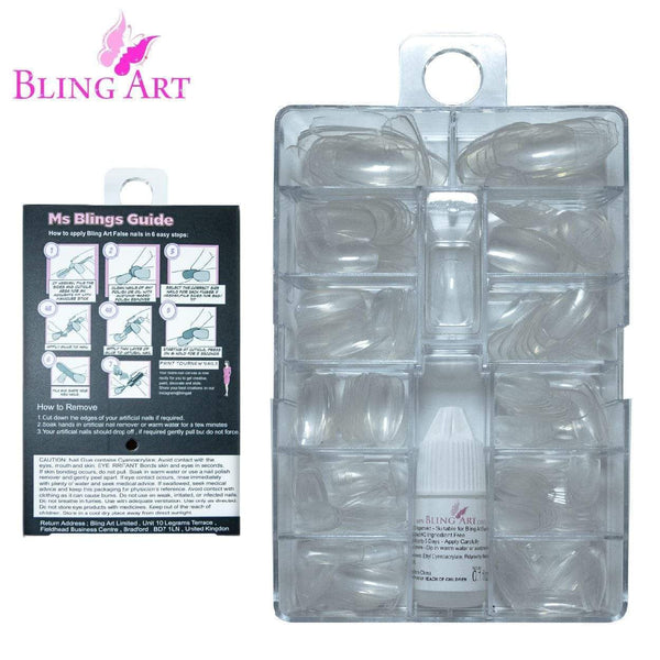 Fake Nails Oval Medium Transparent Acrylic