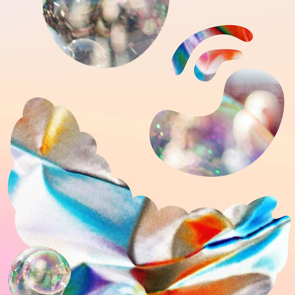 a colourful fine art print of an abstract expressionism digital collage of petals and bubbles.
