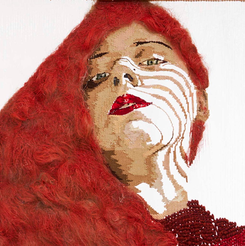 a colourful fine art print of a handwoven conceptual figurative textile of a red headed woman.