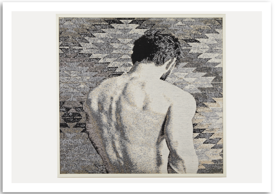 a colourful fine art print of a handwoven modern and realistic figurative textile.