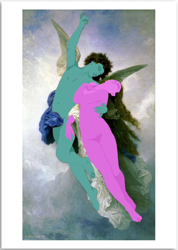 a colourful fine art print of a figurative painting of a woman and angel.