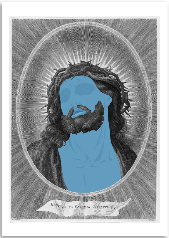 a colourful fine art print of a faceless jesus.
