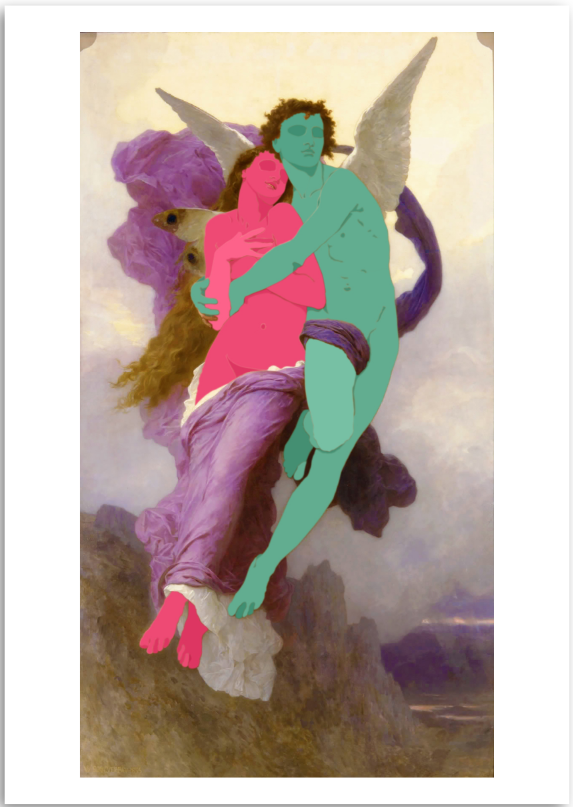 a colourful fine art print of a figurative painting of a woman and an angel.