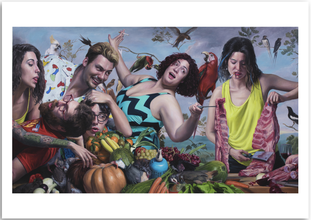a colourful fine art print of a figurative painting of a group of characters and still life.