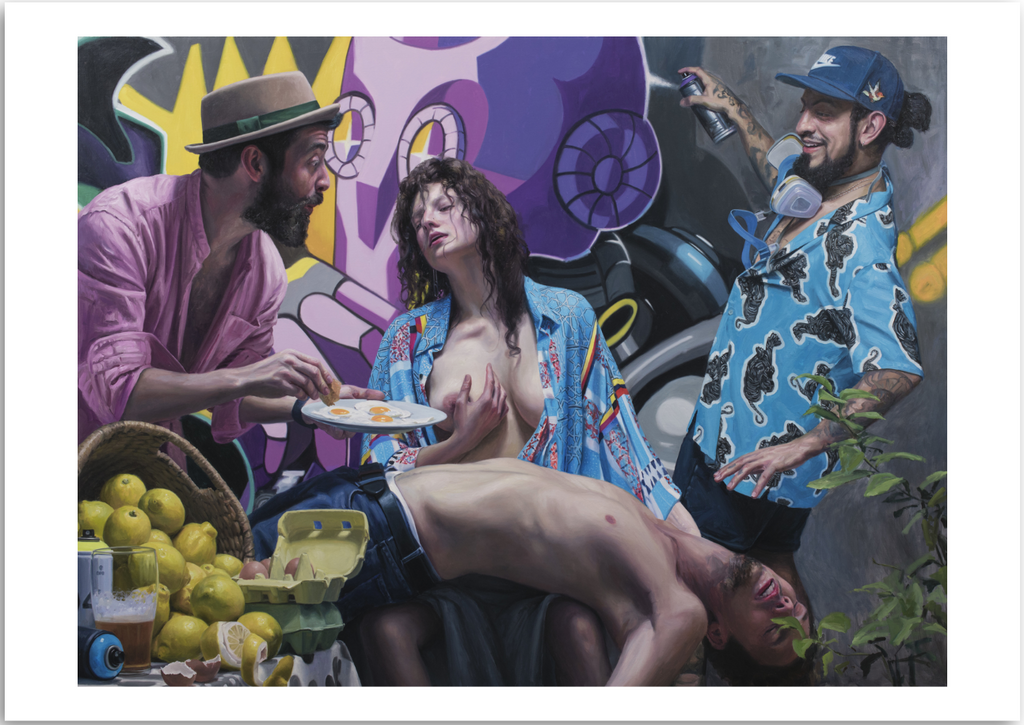 a colourful fine art print of a figurative painting of a group of characters, still life and graffiti.