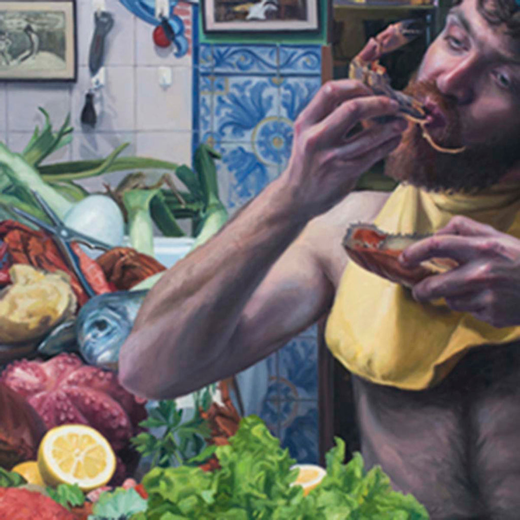 a colourful fine art print of a figurative painting of a man eating seafood.