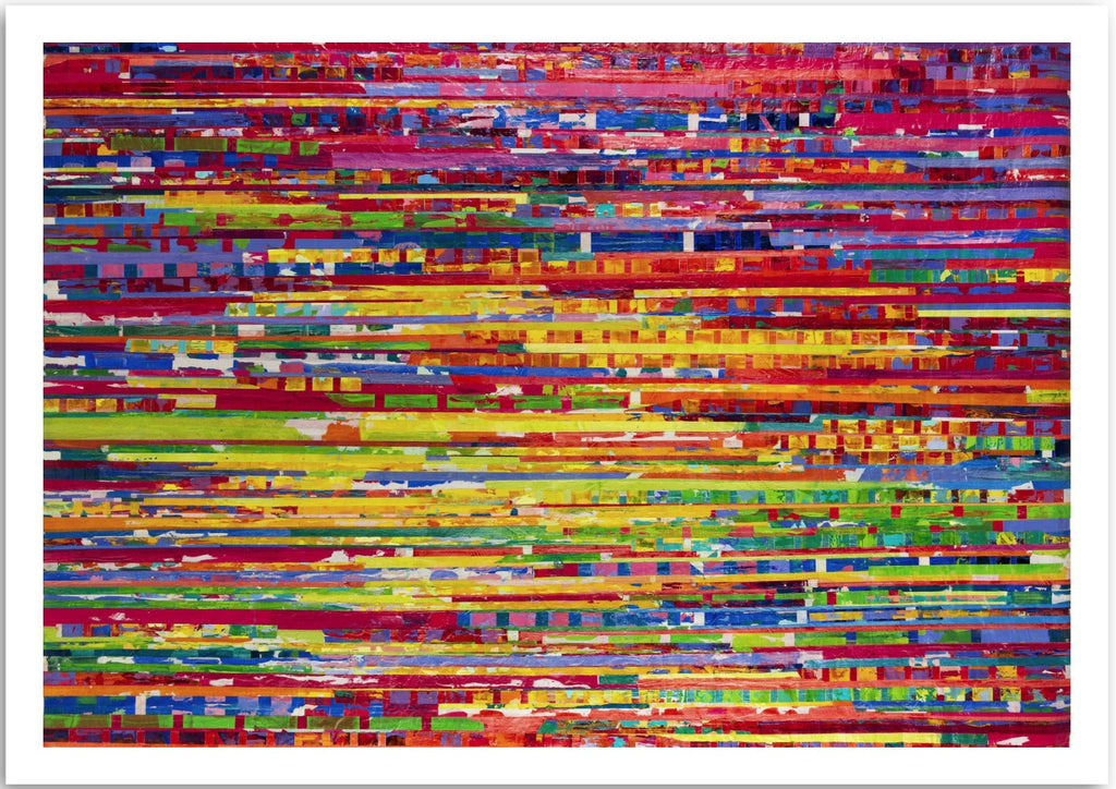 a colourful fine art print  of as is  by Secil Erel is an abstract expressionism painting of a collection of colours.