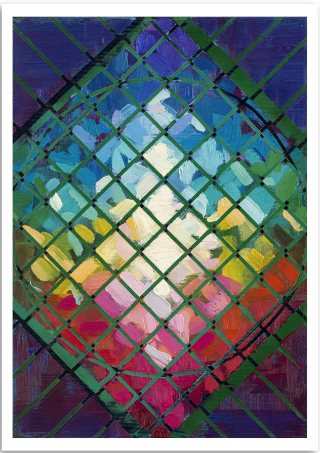 a colourful fine art print of an abstract expressionism painting of a collection layered geometric colours.