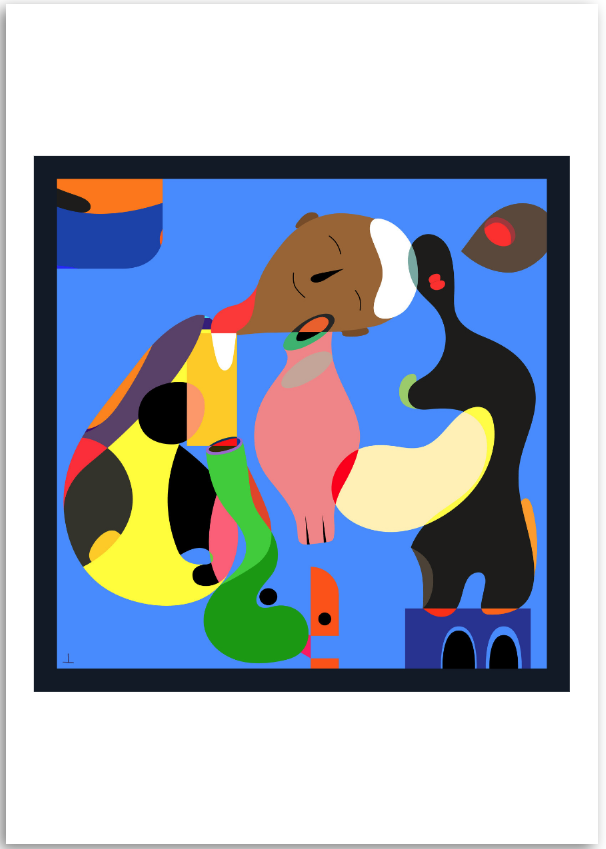 a colourful fine art print of an abstract figurative digital painting of leadership
