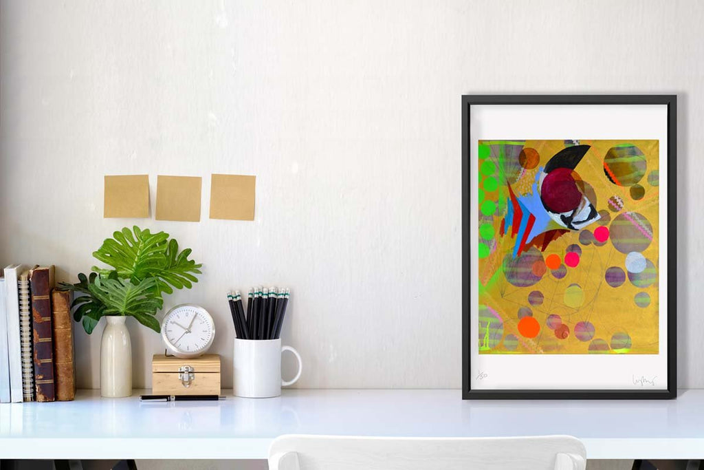 a colourful fine art print of an abstract acrylic, oil and spray painting.