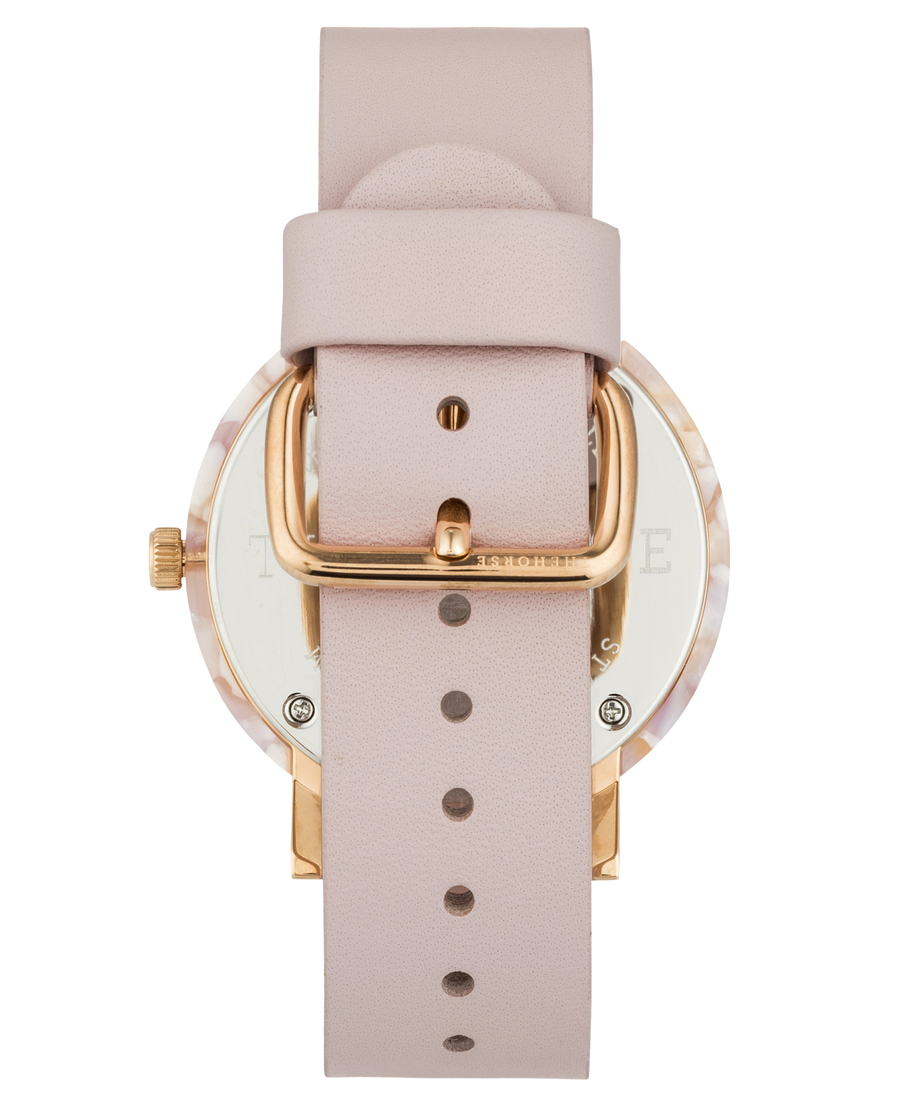 Mini Resin: Pink Nougat Shell/White Dial/Pink Leather